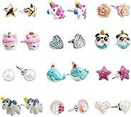 Hypoallergenic Earrings Set for Little Girls, Children's Colorful Cute Unicorn Earrings for Ki