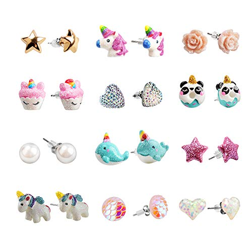 SkyWiseWin Hypoallergenic Unicorn Earrings Set Little Girls, Children's Colorful Cute Earrings for Kids