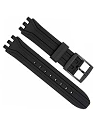 GreenOlive 18mm Replacement Waterproof Silicone Rubber Watch Strap Watch Band (Black)