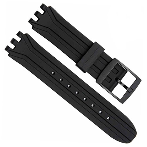 18mm Replacement Waterproof Silicone Rubber Watch Strap Watch Band for SUIK400|SUIB400 Swatch (Black)