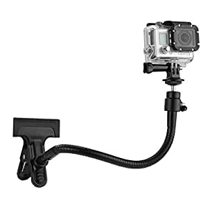 """Clamp Mount for Gopro Hero 5 Black, Session, Hero 4, Session, Black, Silver, Hero+ LCD, 3+, 3, 2, 1 and Compact Cameras – Includes a Clamp Mount / Ball & Socket Mount / 10""""Gooseneck / Tripod Mount"""