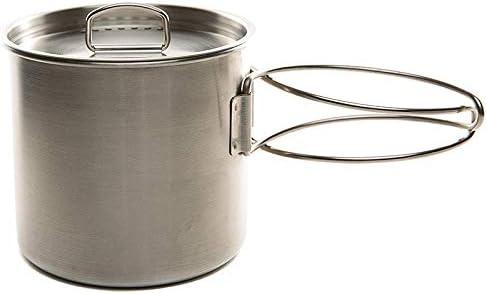 JVSISM Inoxidable Taza de Mochilero de Cámping Conjunto de Cocina Maceta con Tapa Ventilada Manijas Plegables para Senderismo Camping