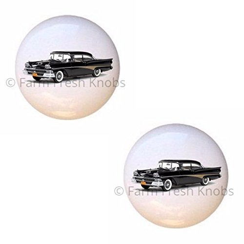 SET OF 2 KNOBS - 1958 Ford Fairlane 500 - Classic Cars - DECORATIVE Glossy CERAMIC Cupboard Cabinet PULLS Dresser Drawer KNOBS ()