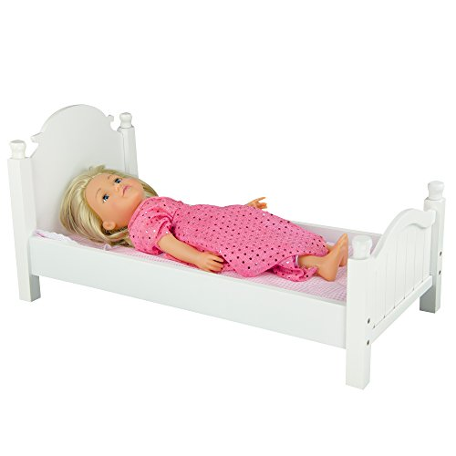 Teamson Design Corp Olivia's Little World - Sweet Girl Single Bed with Pink Polka Mettress | Wooden 18 inch Doll Furniture