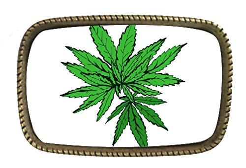 More Green Leaf Cannabis Marijuana Belt Buckle
