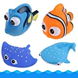 baby nemo bath tub - NF orange 4 Pack Finding Dory Nemo Squirt Bath Squirters Toys Figures for Kids Baby Shower Swim Add a Storage Bag