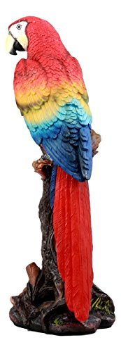 Ebros Gift Beautiful Tropical Rainforest Paradise Bird Scarlet Macaw Parrot Statue Perching On Tree Branch Decorative Figurine 13.75 Tall