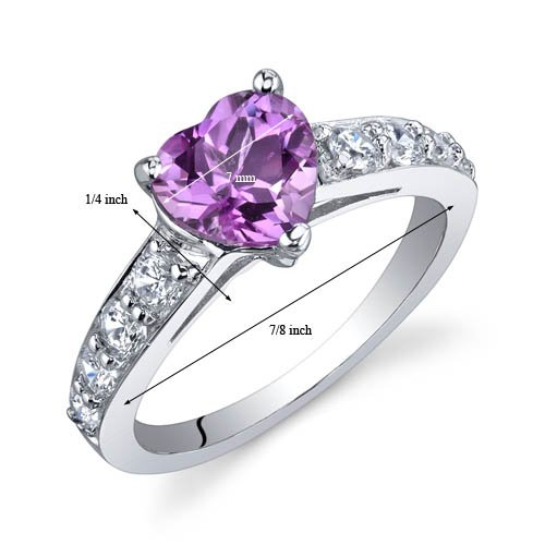 Dazzling Love 1.50 Carats Created Pink Sapphire Ring in Sterling Silver Rhodium Nickel Finish Sizes 5 to 9