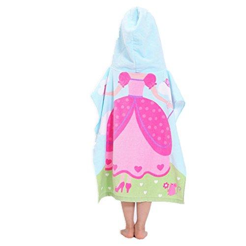 h Towel Poncho Kids Girls 100% Cotton Bathrobe Bath Blanket ()