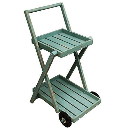 TongN Retro Flower Stand Nordic Solid Wood Double Layer Trolley Float Gardening Green Plant Storage Racks(Green,37.426.818.5 in)