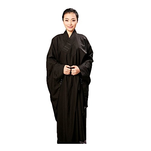 ZooBoo Women Opaque Cambric Lay Monk Costume Robe Buddhism Uniform Long Gown (39/160, Black)