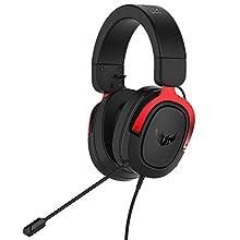 ASUS TUF Gaming H3 - Auriculares de gaming para PC, PS4, Xbox One, Mac, Nintendo Switch y telefonos móviles con sonido envolvente 7.1, graves potentes, diseño ligero, rojo
