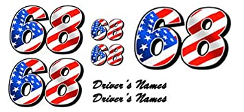 Customized Full Color Vinyl Race Car Numbers Decal