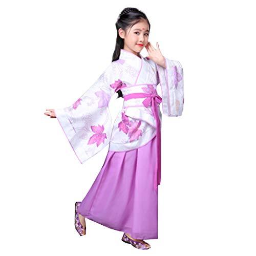 Ez-sofei Girls Ancient Chinese Han Dynasty Traditional Costume Set Hanfu Dresses (140, C-Purple Leaf) -