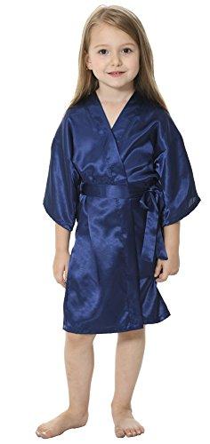 JOYTTON Kids' Satin Rayon Kimono Robe Bathrobe Nightgown (6,Dark Blue)