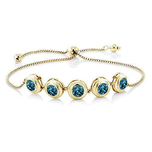 Gem Stone King 3.75 Ct Round London Blue Topaz 18K Yellow Gold Plated Silver Tennis Bracelet