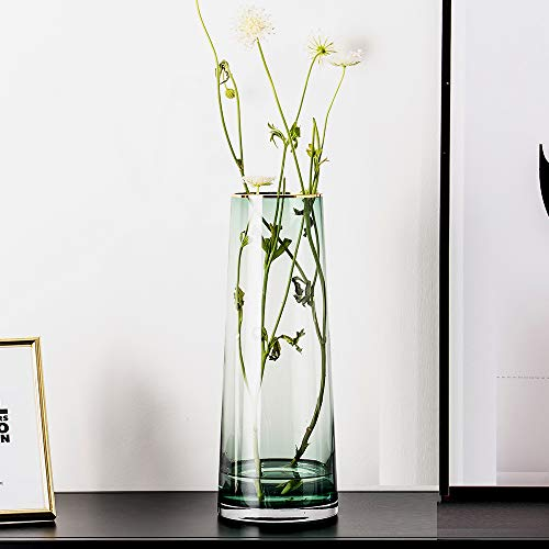 cyl home Vase Flower Arrangement Optic Color Glass Vases with Golden Rim Decor Table Centerpieces Trumpet Shape Accent for Dining Living Room Wedding Gift, 12.6