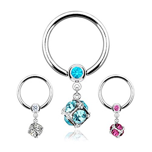 Covet Jewelry Dice Multi Gem Paved Dangle 316L Surgical Steel Gemmed Captive Bead Ring (Clear) - Dangle Captive Bead Ring