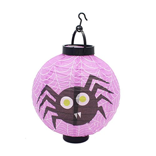 Halloween Decoration,Elevin(TM)Happy Vintage Halloween Festival Party Decor LED Pumpkin Spider DIY Paper Lantern (A)]()