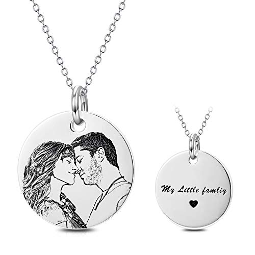 LONAGO Personalized Photo Necklace Sterling Silver Custom Engraved Picture Image Necklace Pendant Black and White Color Gifts (White-Gold-Plated-Silver)