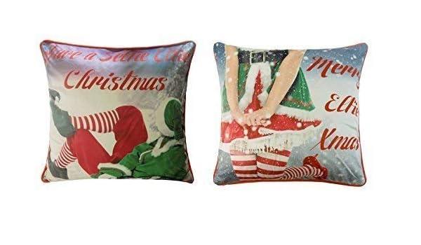 2 x Señor y señora elfo de Navidad rojo y verde de ...
