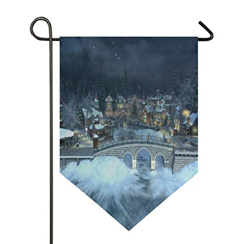 Christmas Village Wallpaper Garden Flag Indoor & Outdoor Decorative Flags for Parade Sports Game Family Party Wall Banner Season Porch Lawn Double Sided 12 x 18.5 inches]()