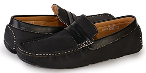 [2620-black-11] Men's Slip-On Penny Loafers: Casual Driving Shoes and Boat Shoe