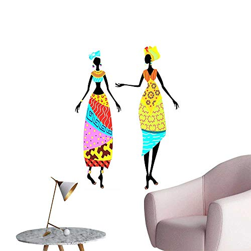 SeptSonne Wall Painting Woman Tribal Ladies Costume Silhouettes Ethnicity Display High-Definition Design,32