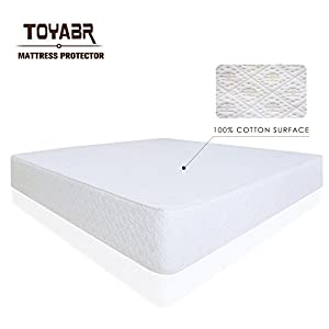 TOYABR Deluxe Quality 100% Cotton Surface Hypoallergenic Breathable Mattress Protector - Dust Mite and Bed Bug Proof Mattress Cover-Soft Quilted Mattress Pad (Full, White)