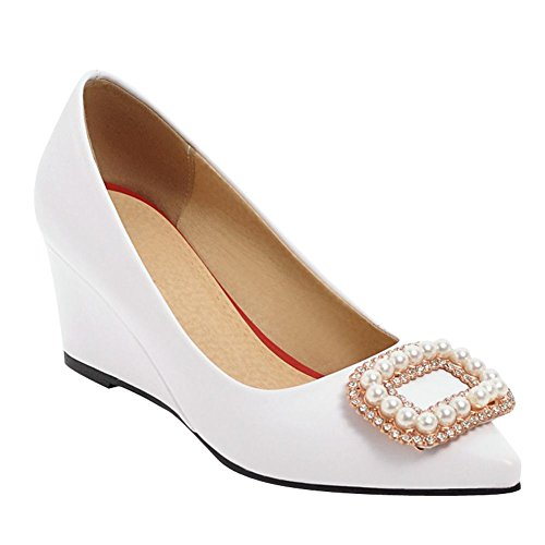 Mee Shoes Women's Sweet Slip On Wedge Heel Court Shoes White X0u44tqYZ