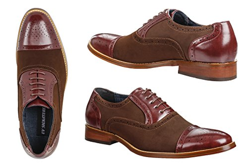 UV SIGNATURE Men's Two-Tone Lace-up Dress Shoes, Burgundy, Size (Dark Cherry Pu Shoes)