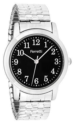 (Ferretti Women's | Classic Silver-Tone Expansion Bracelet Big Number Watch | FT16003)
