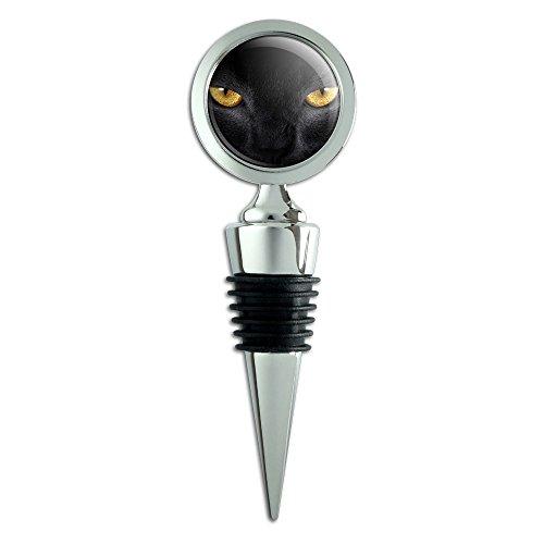 Black Cat Gold Eyes Wine Bottle Stopper