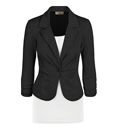 Women's Casual Work Office Blazer Jacket JK1131 Charcoal Large