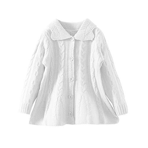 Mud Kingdom Toddler Girl Cardigan Sweater White 4T Turndown Collar (4t Cardigan Sweater)