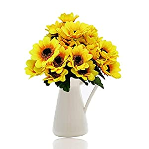 Artificial Sunflower,Govine Artificial Flowers fake flowers For Home Decoration Wedding Decor,7 Flowers Per Bunch, 4 Bunches Per Pack 95