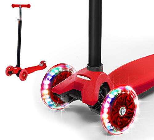 Rugged Racers Red Kick Scooter for Boys & Girls 3 Wheel Scooter, Adjustable Kick Scooter for Kids with PU LED Light Up Wheels, Step Brake, Lean 2 Turn, Ride on Toys for Children 5 Year Plus