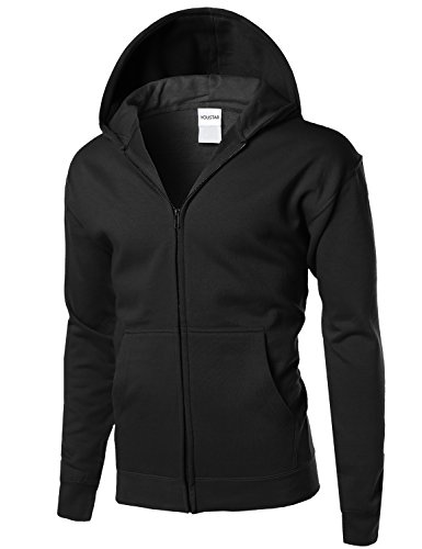 Basic Solid Men's Mid-weight Hood Zip Up Jacket Black Size L