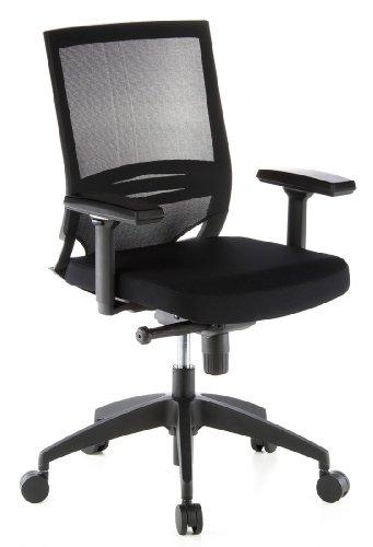 HJH OFFICE 657230 Bürostuhl / Chefsessel Porto Base Netzstoff, schwarz