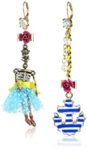 """Betsey Johnson """"Hanging Nautical Boost"""" Sailor Skull and Anchor Mismatch Drop Earrings"""