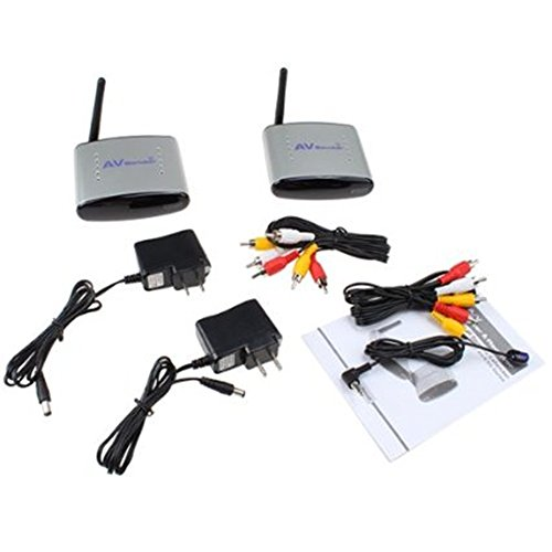 Image¨ 4 Channel Wireless Audio Video AV Transmitter Receiver with IR Remote Extension Wire (Black)