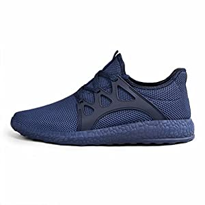 QANSI Men's Mesh Sneakers Ultra Lightweight Breathable Athletic Running Shoes (9.5 D(M) US, Blue)
