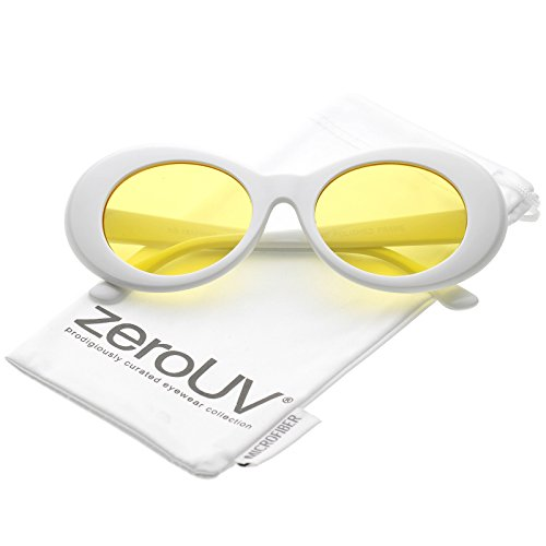 1a6e2d8972 zeroUV - Bold Retro Oval Mod Thick Frame White Sunglasses Clout Goggles  with Round Colored Lens 51mm (White   Yellow) - Buy Online in KSA. zerouv  products ...