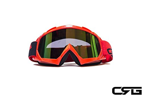 CRG Sports Motocross ATV Dirt Bike Off Road Racing Goggles RED T815-7-2A T815-7-2A Multi-color lens red frame