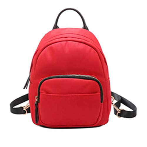 Clearance Sale!DEESEE(TM)Camouflage Unisex Leather Backpack Laptop Retro Travel School Rucksack Bag (Red) ()
