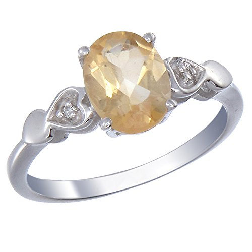 Sterling Silver Citrine & Diamond Ring (1.60 CT) In Size 9 (Citrine And Diamond Ring)