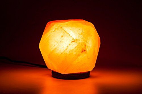 [Hand Crafted] HemingWeigh All Natural Himalayan Crystal Salt Rock Hexagon Lamp with Wood Base