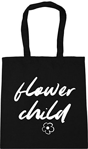 Tote litres x38cm Child Shopping Flower HippoWarehouse Black 42cm Beach 10 Gym Bag F7wfn