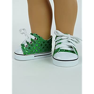 American Fashion World Green Sequin Sneakers fits 18 Inch Doll: Toys & Games