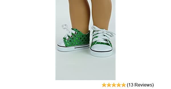 18 inch Girl Doll Shoes Silver Sequin Tie Sneaker Tennis American seller NEW